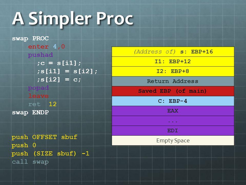 A Simpler Proc swap PROC enter 4,0 pushad ;c = s[i1]; ;s[i1] = s[i2];
